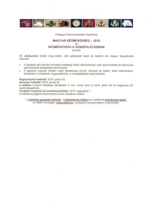 Magyar kézművesség 2014 és Kézművesség a vendéglátásban