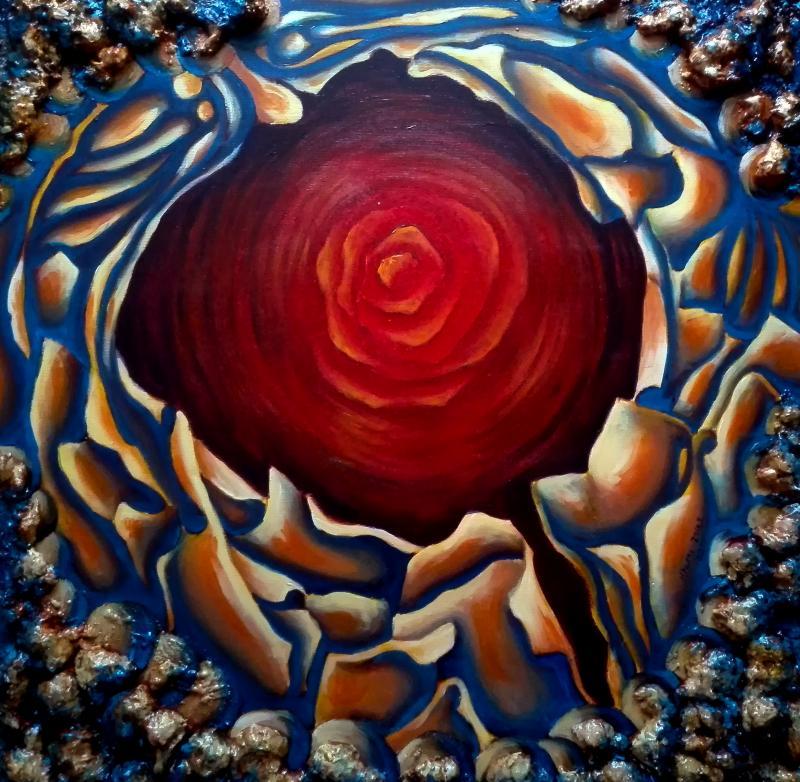 ILLESZKEDÉSI HORIZONT - HALMI ZSOLT GRAFIKUSMŰVÉSZ KIÁLLÍTÁSA: Halmi Zsolt grafikusművész absztrakt, kék és vörös színekben gazdag alkotása