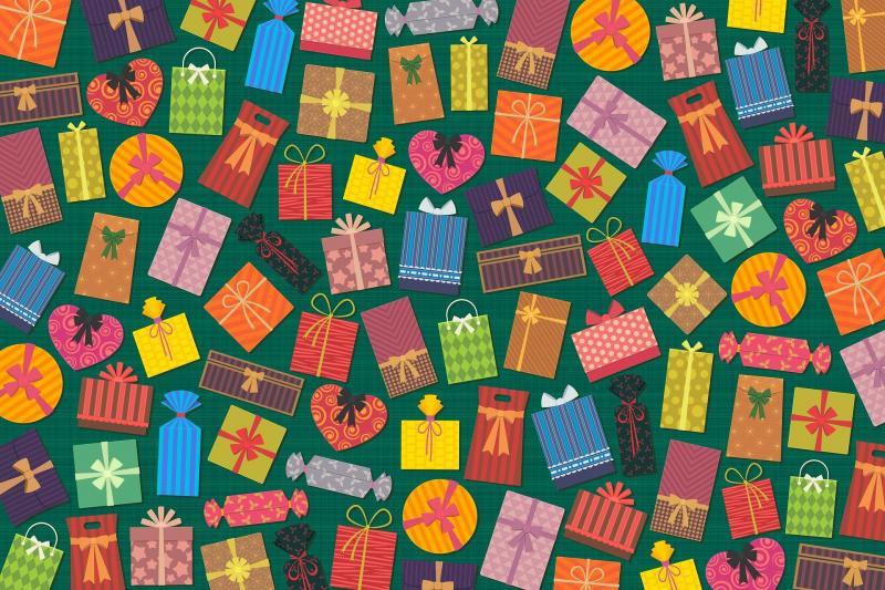 REMÉNY CSALÁDI NAP: Illusztratív grafikai mintázat, mely ajándékosdobozokból áll