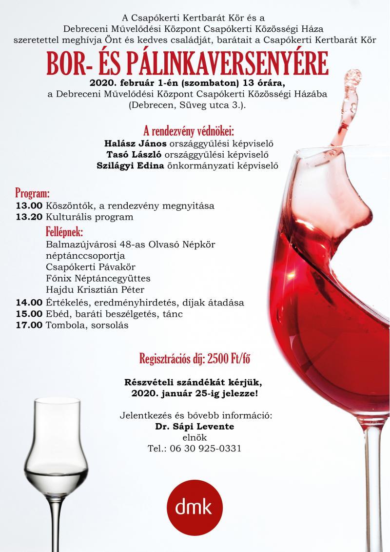 VÁROSI BOR- ÉS PÁLINKAVERSENY: A rendezvény hivatalos plakátja